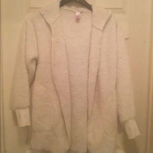 NOBO White Fluffy Hooded Pocketed Jacket.  Sz S